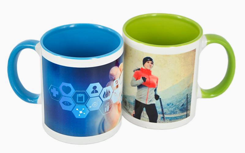 Custom Mug Cup Printing With Black Mug Green Mug Etc