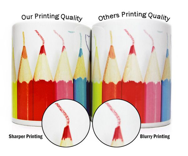 Our full color heat transfer dye-sublimation printing is more vibrant, contrast, sharper and has very eye-catching glossy finishing with at least 90% of the colors transferred.