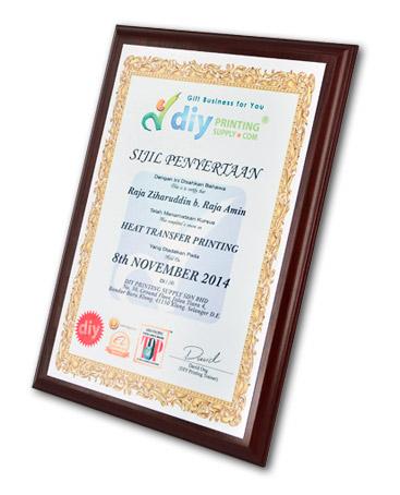 Wood Certificate Plaque Printing